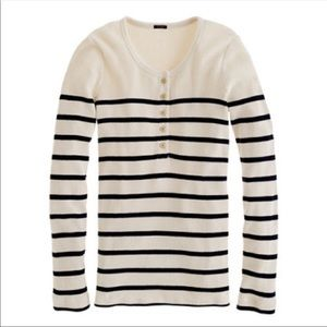 J. Crew Striped Thermal Henley Waffle Knit small